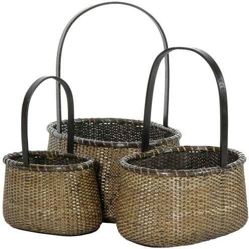 Oriental Furniture 3-Pc. Rattan Round Handle 3-pc.Basket