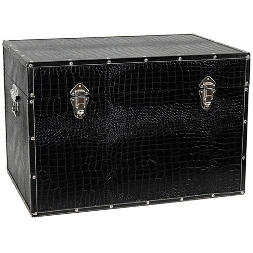 Oriental Furniture Faux Leather Storage Trunk