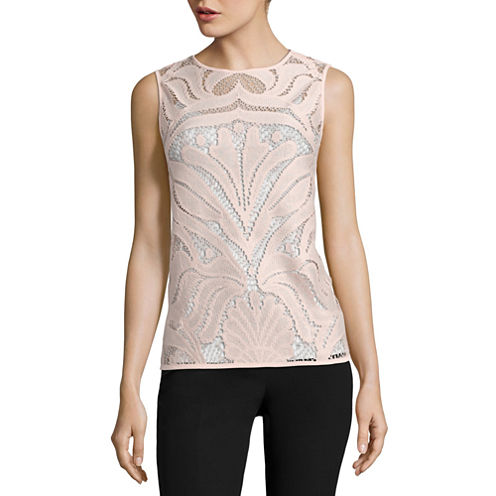 City Streets Sleeveless Scoop Neck T-Shirt-Womens