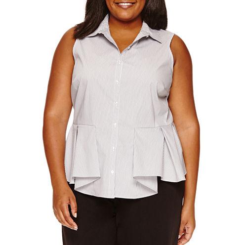 Worthington Sleeveless Stripe Button-Front Shirt-Plus
