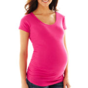Maternity Scoopneck Side Ruched Tee