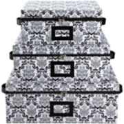 Kennedy Damask 3-Piece Storage Box Set
