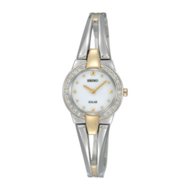 jcpenney.com | Seiko® Womens Two-Tone Crystal Accent Solar Watch SUP206
