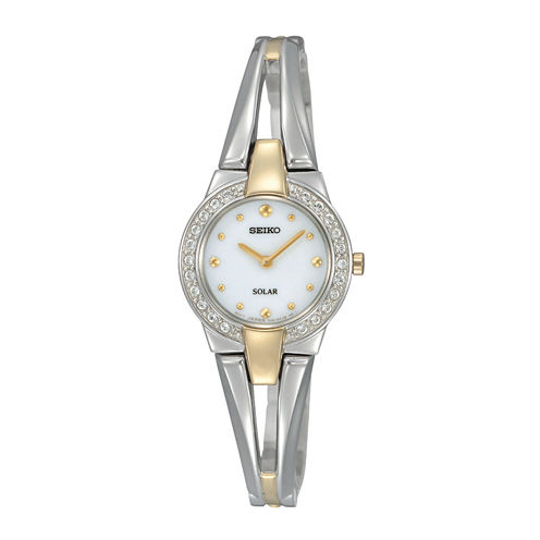Seiko® Womens Two-Tone Crystal Accent Solar Watch SUP206