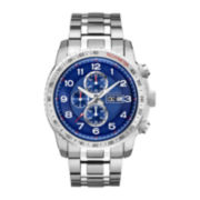Bulova® Mens Blue Stainless Steel Chronograph Watch 96C121