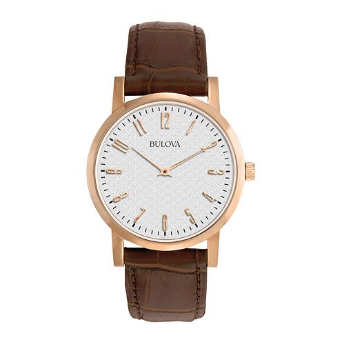 Bulova® Mens Classic Brown Leather Strap Watch 97A106
