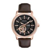 Bulova® Mens Classic Brown Leather Strap Automatic Watch