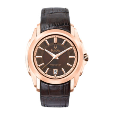 jcpenney.com | Bulova® Precisionist Mens Rose-Tone Brown Leather Strap Watch