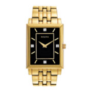 Bulova® Mens Gold-Tone Square Case Diamond Accent Watch