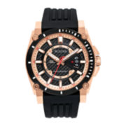 Bulova® Precisionist Mens Rose-Tone Black Rubber Strap Watch