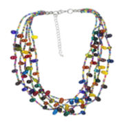 Decree® 5-Row Glass & Seed Bead Statement Necklace