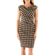 Danny & Nicole® Cap-Sleeve Houndstooth Dress