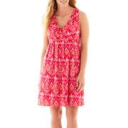 St. John's Bay® Sleeveless V-Neck Surplice Dress - Plus
