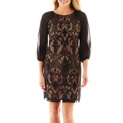 Simply Liliana 3/4-Sleeve Lace-Front Dress