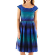 J. Taylor Cap-Sleeve Striped Fit-and-Flare Dress