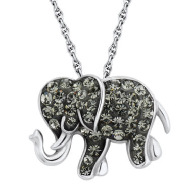 jcpenney.com | Sterling Silver Black Crystal Elephant Pendant Necklace