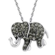 Sterling Silver Black Crystal Elephant Pendant Necklace