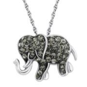 Sterling Silver Black Crystal Elephant Pendant