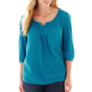 St. John's Bay® 3/4 Sleeve Beaded Peasant Top - Plus