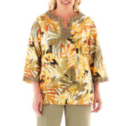 Alfred Dunner® Call of the Wild Tropical Lace-Neck Blouse - Plus