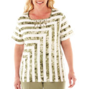 Alfred Dunner® Call of the Wild Short-Sleeve Tie-Dyed Striped Top - Plus