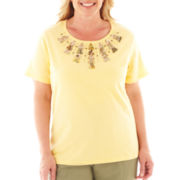 Alfred Dunner® Call of the Wild Short-Sleeve Tribal Yoke Top - Plus