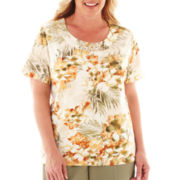 Alfred Dunner® Call of the Wild Short-Sleeve Tropical Flower Top - Plus