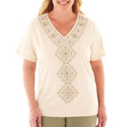 Alfred Dunner® Call of the Wild Short-Sleeve Embroidered-Center Top - Plus