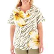 Alfred Dunner® Call of the Wild Floral Striped Top - Plus
