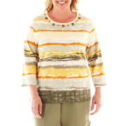 Alfred Dunner® Call of the Wild 3/4-Sleeve Watercolor-Striped Top - Plus