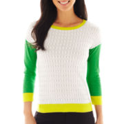 Worthington® 3/4-Sleeve Colorblock Sweater