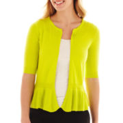 Worthington® Sleeveless Peplum Cardigan Sweater