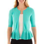 Worthington® Sleeveless Peplum Cardigan Sweater