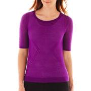 Worthington® Short-Sleeve Chevron Sweater