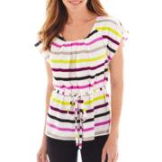 Worthington® Short-Sleeve Belted Blouse