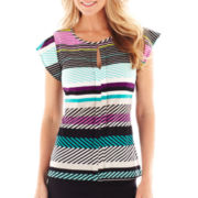 Worthington® Cap-Sleeve Cutout Top