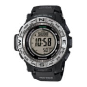 Casio® Pro Trek Triple Sensor Mens Black Resin Strap Solar Sport Watch