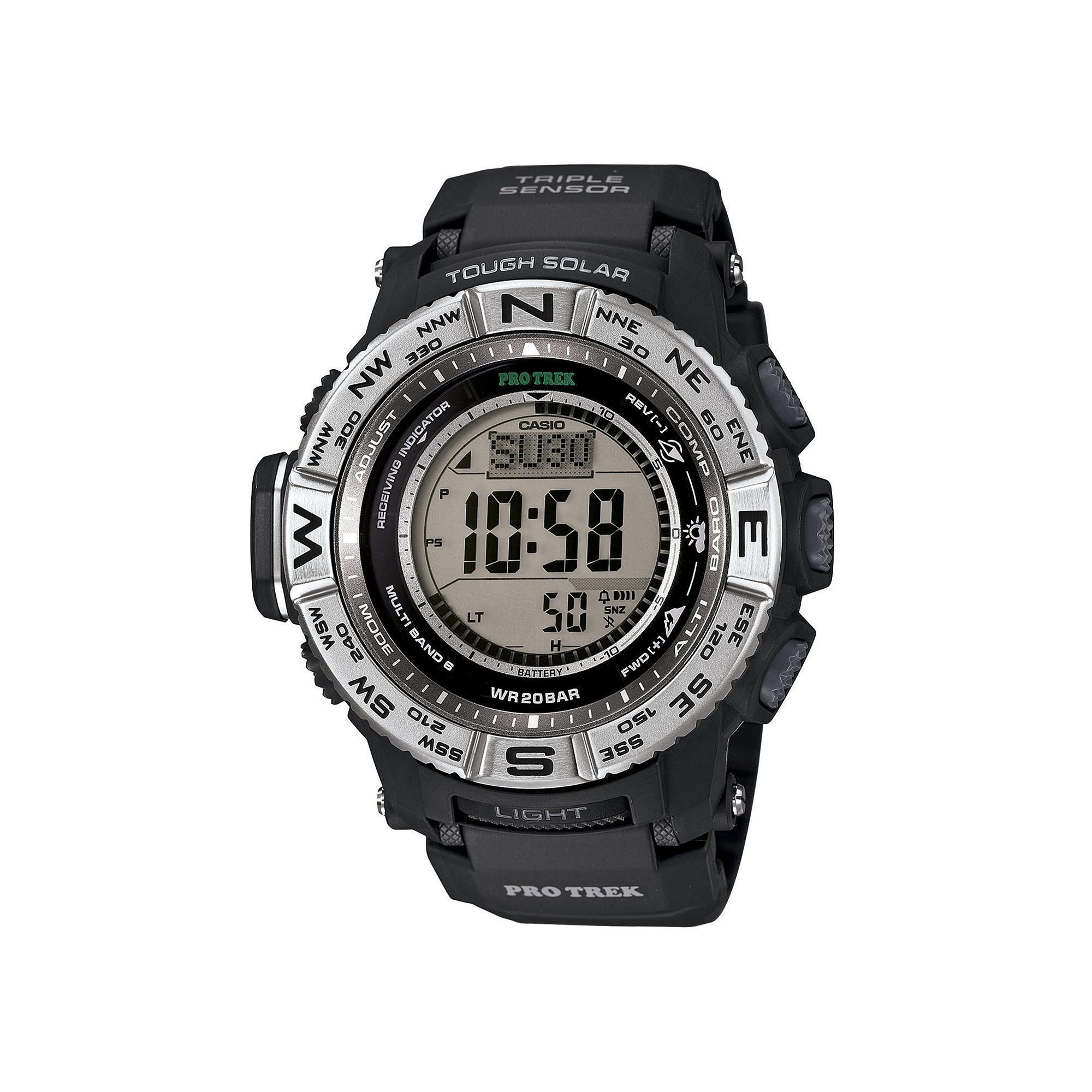 Casio Pro Trek Triple Sensor Mens Black Resin Solar Sport Watch PRW3500-1CR