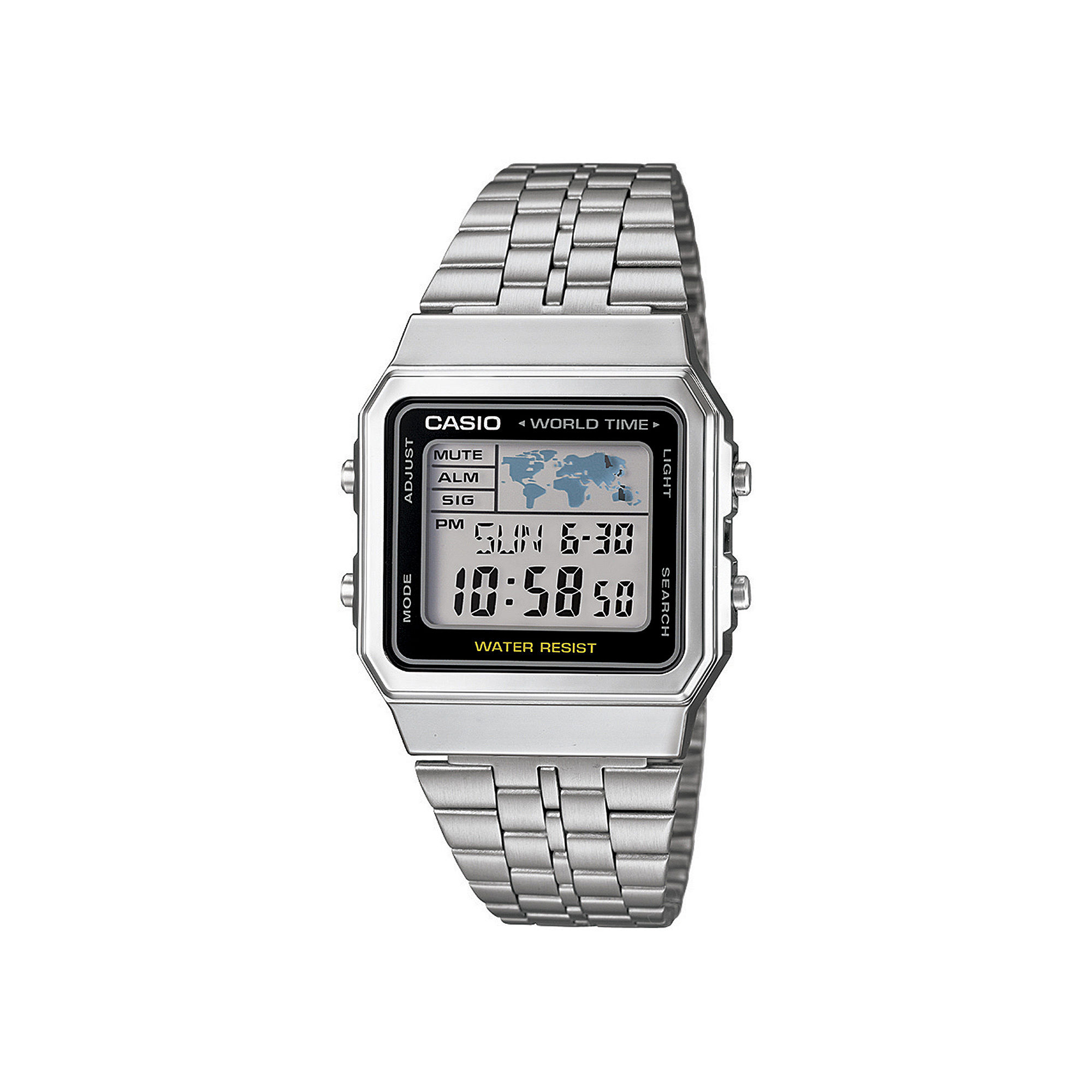 Casio Mens Square Stainless Steel World Time Digital Watch A500WA-1CF