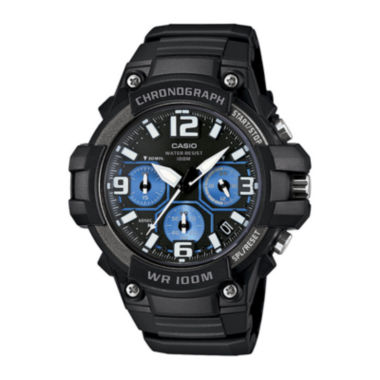 jcpenney.com | Casio® Mens Black Resin Strap Chronograph Sport Watch MCW100H-1A2VCF