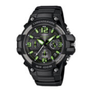 Casio® Mens Black Resin Strap Chronograph Sport Watch