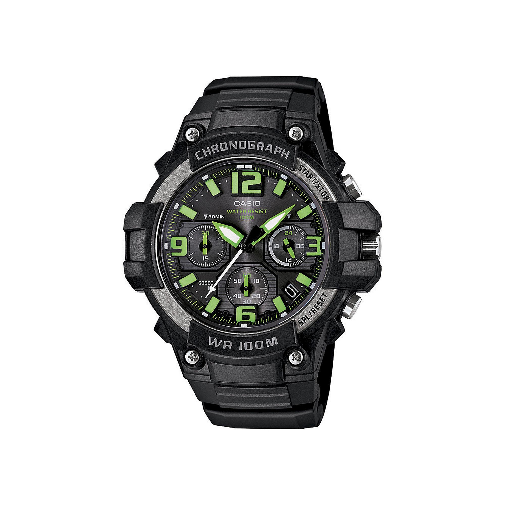 Casio Mens Black Resin Strap Chronograph Sport Watch MCW100H-3AVCF