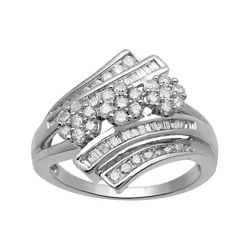 diamond blossom 3/4 CT. T.W. Diamond 10K White Gold 3-Cluster Bypass Ring