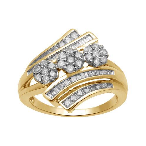 diamond blossom 3/4 CT. T.W. Diamond 10K Yellow Gold 3-Cluster Bypass Ring