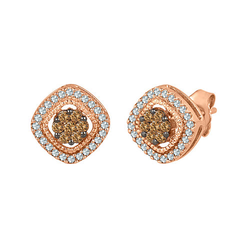 3/8 CT. T.W. White and Champagne Diamond 10K Rose Gold Cluster Earrings