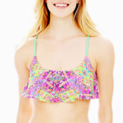 Arizona Tribal Print Flounce Swim Top - Juniors
