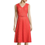 Evan-Picone Sleeveless Floral Lace Belted A-Line Dress