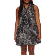 Decree® Tie-Neck Swing Dress - Juniors Plus