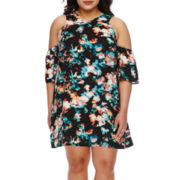 Decree® V-Neck Cold-Shoulder Dress - Juniors Plus