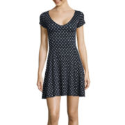 Decree® Short-Sleeve Swing Skater Dress- Juniors